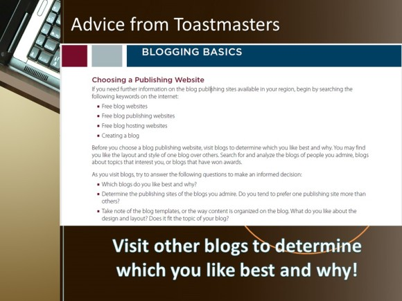 advice from toastmasters