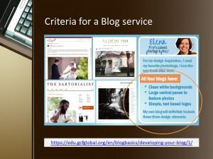 criteria for a blog service